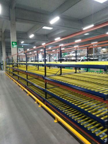 Regále doplnené o valčekové dráhy. využívajú sa hlavne tam kde je nutné výrobné linky neustále zásobovať vstupnými materiálmi. Spolu s plastovými prepravkami tvoria systém FIFO.